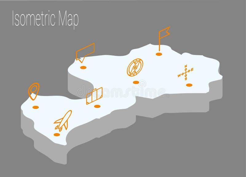 地图拉脱维亚等量概念 库存例证