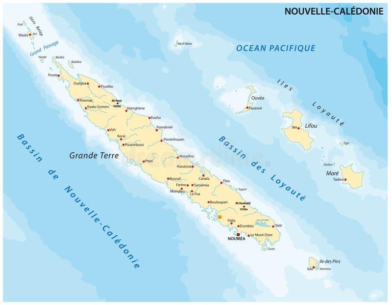地图新喀里多尼亚是Frenchowned群岛在南太平洋 皇族释放例证