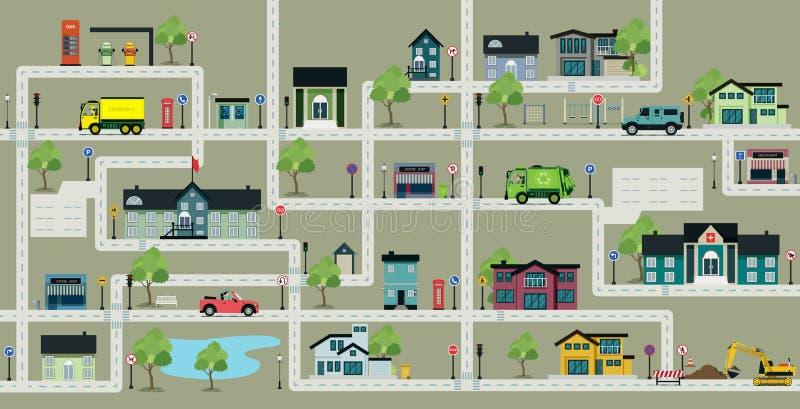 地图有交通标志的城市街道 库存例证