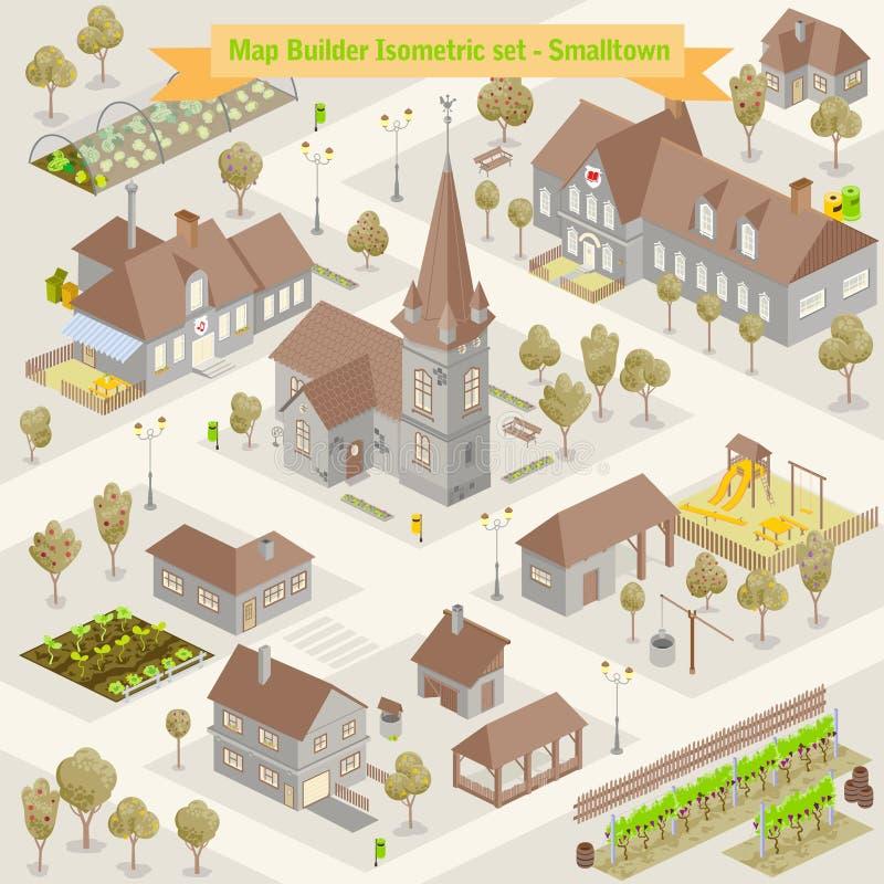 地图村庄从上面与房子,路,冒险例证的河的顶视图的 向量例证