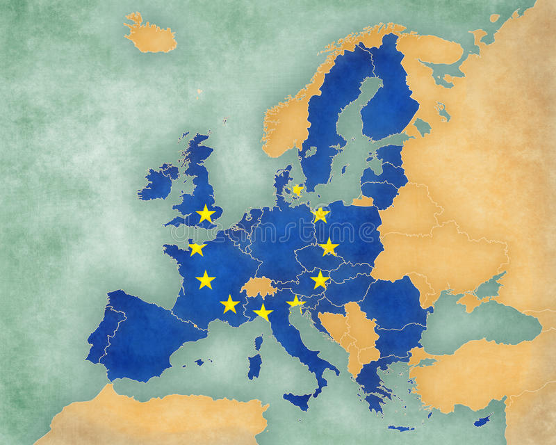地图欧洲-欧盟2013年(夏天样式) 库存例证