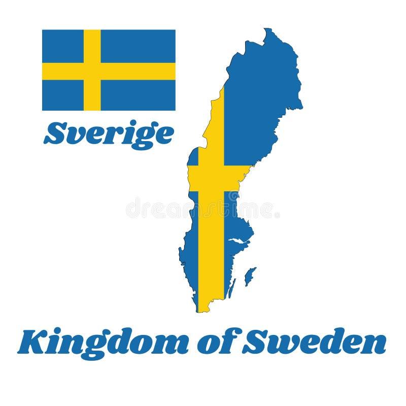 地图瑞典,它的概述和旗子是包括黄色或金北欧十字架在蓝色的领域 向量例证
