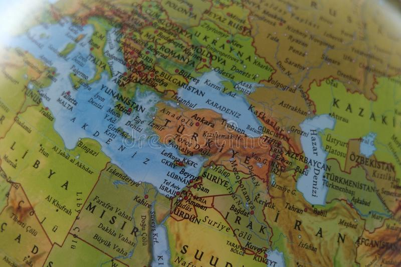 地图的土耳其 免版税库存照片