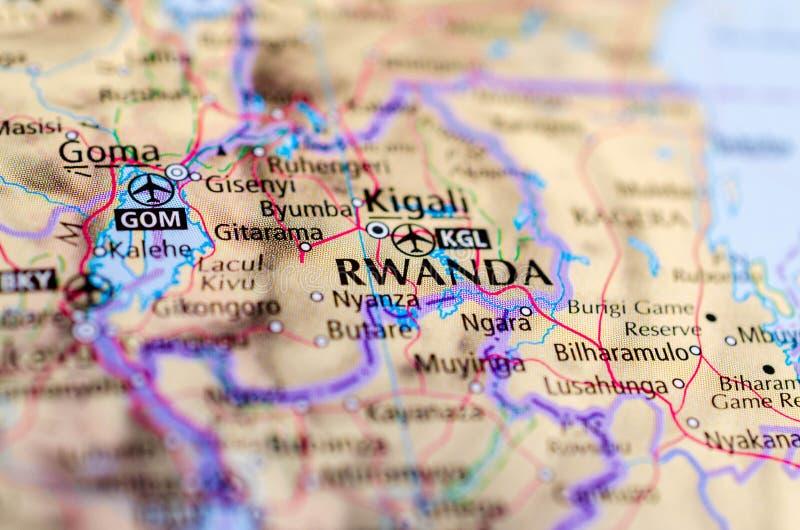 地图的基加利卢旺达 免版税库存图片