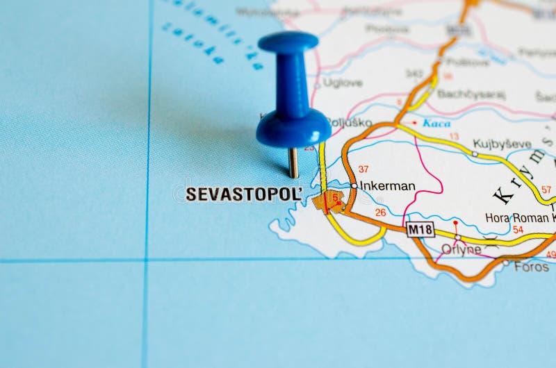 地图的塞瓦斯托波尔 库存照片