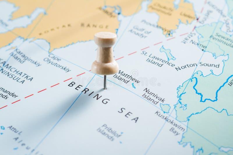 地图的白令海 免版税图库摄影