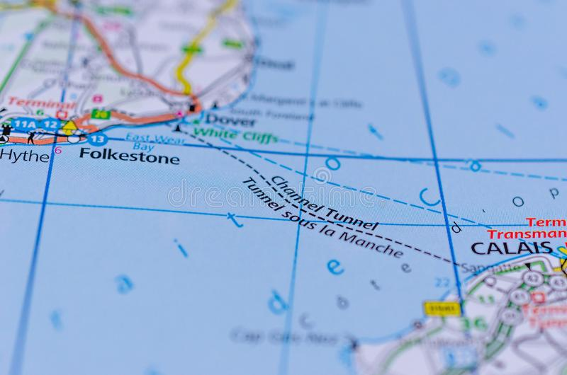 地图的英法海底隧道 库存图片