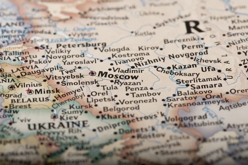 地图的莫斯科 免版税库存照片