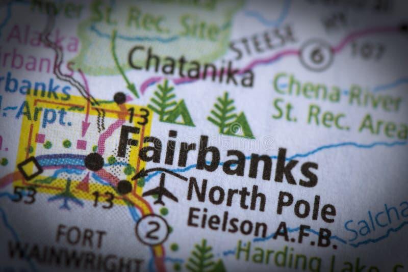 地图的费尔班克斯 库存照片