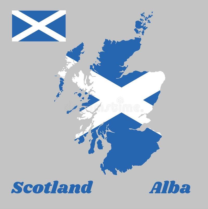 地图苏格兰,它的概述和旗子是与延伸到角落的一个白色对角十字架的一个蓝色领域 向量例证