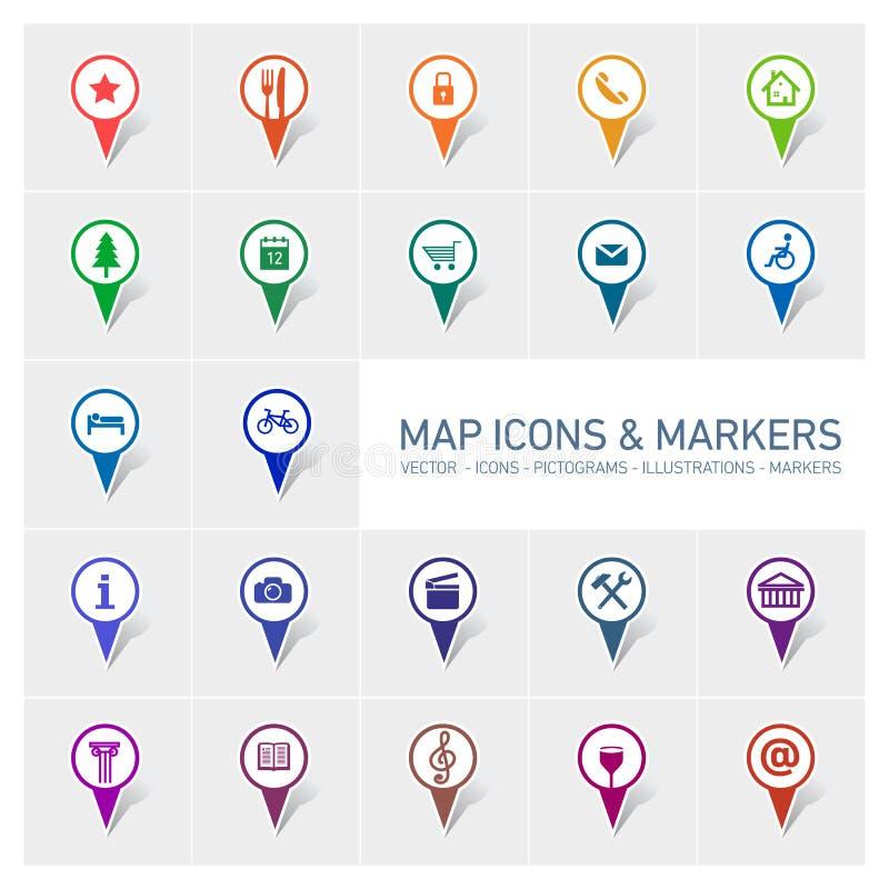 地图象和标志 库存例证