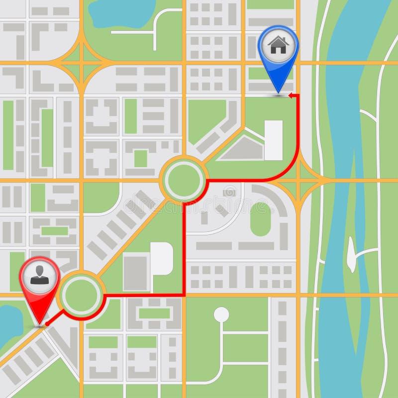 地图路线 抽象城市航海 库存例证