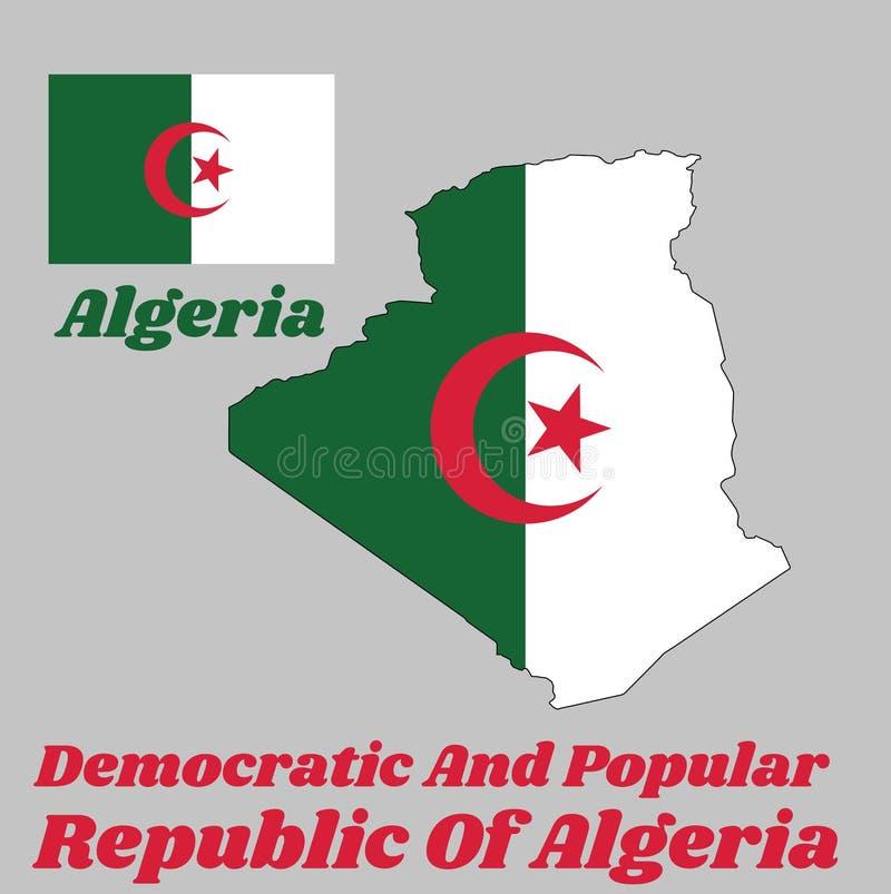 地图阿尔及利亚,它的概述和旗子是包括两个相等的垂直杆,绿色和白色,中心与一个红色星和月牙 库存例证