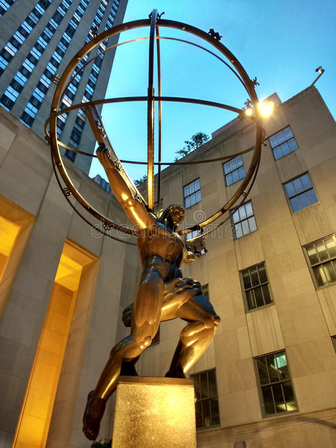 地图集雕象,纽约, NY,美国 免版税库存照片