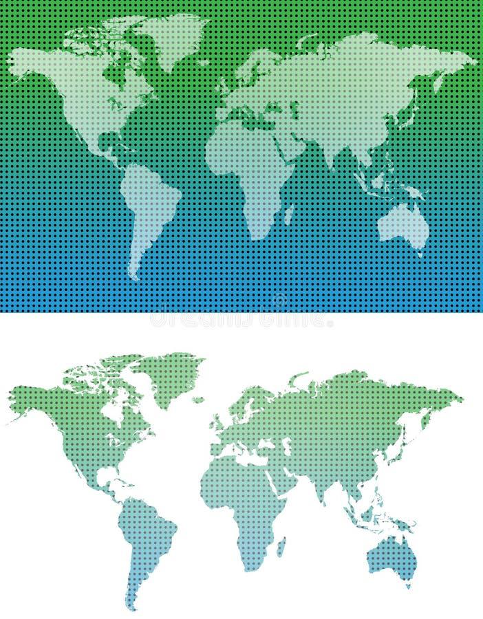 地图,世界地图,小点地图 向量例证