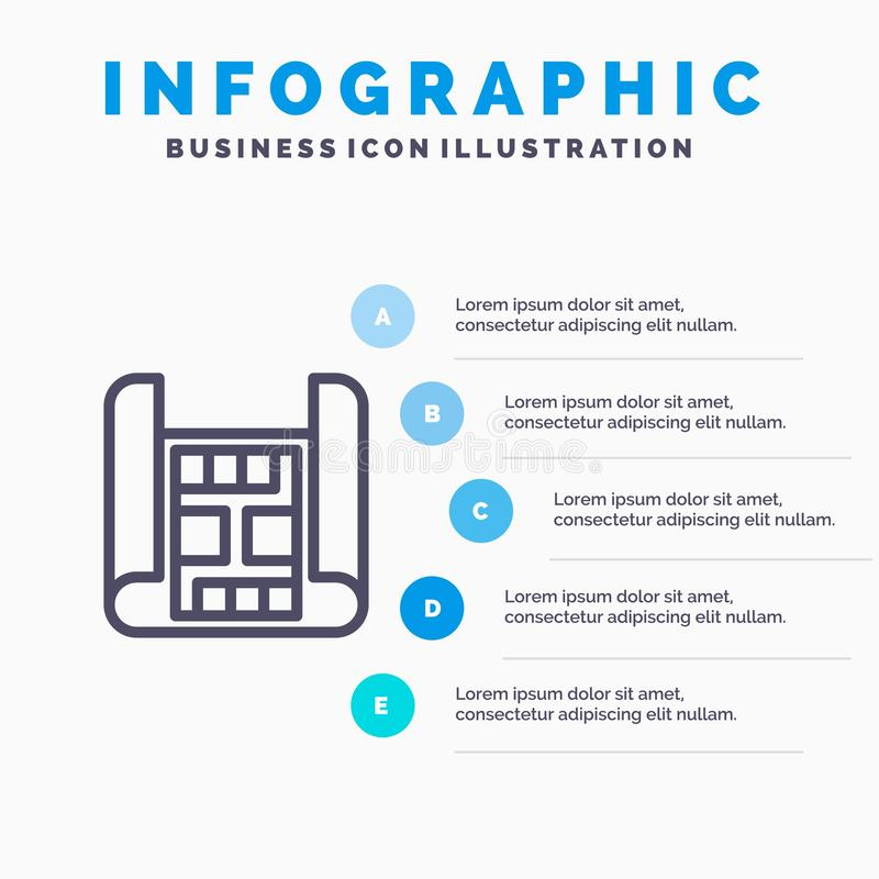 地图,建筑,建筑限界象有5步介绍infographics背景 皇族释放例证