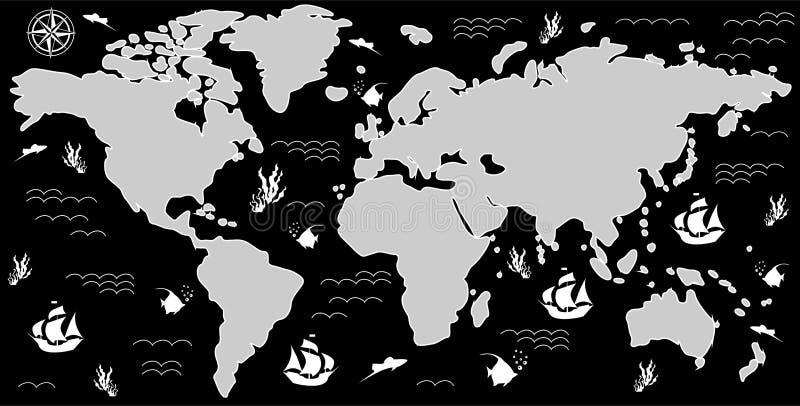 地图黑白色 向量例证