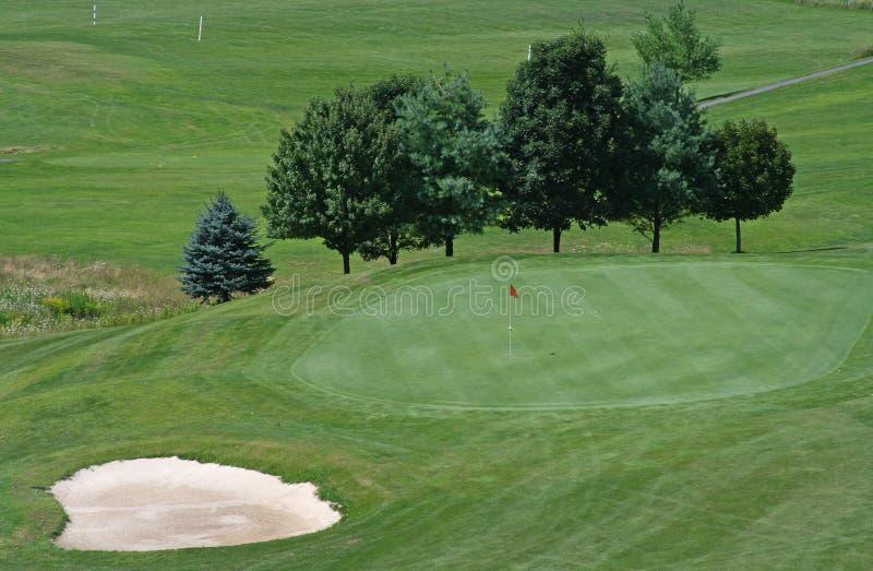 地堡路线高尔夫球绿色 免版税图库摄影