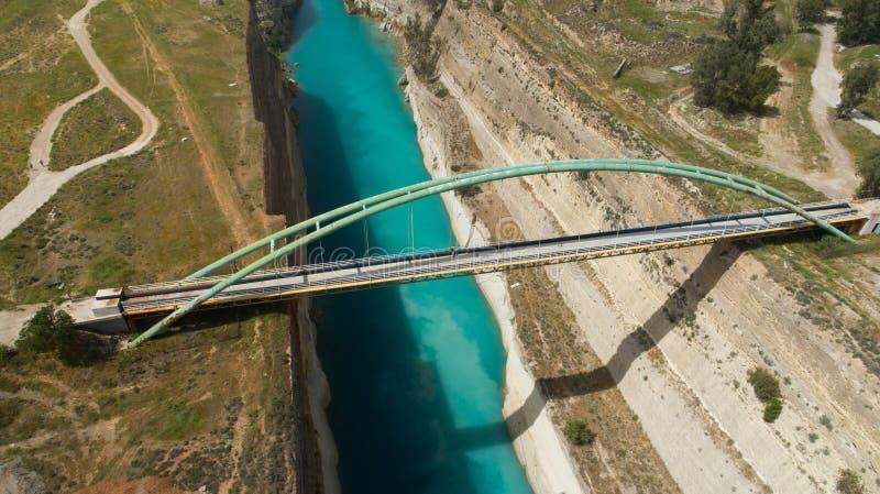 地峡,伯罗奔尼撒著名科林斯运河鸟瞰图  免版税库存照片