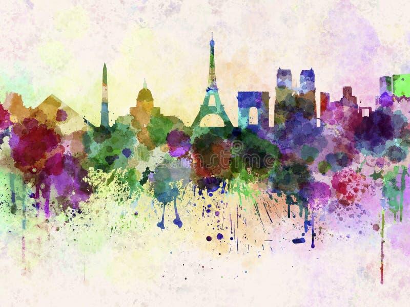 巴黎地平线在水彩背景中 皇族释放例证