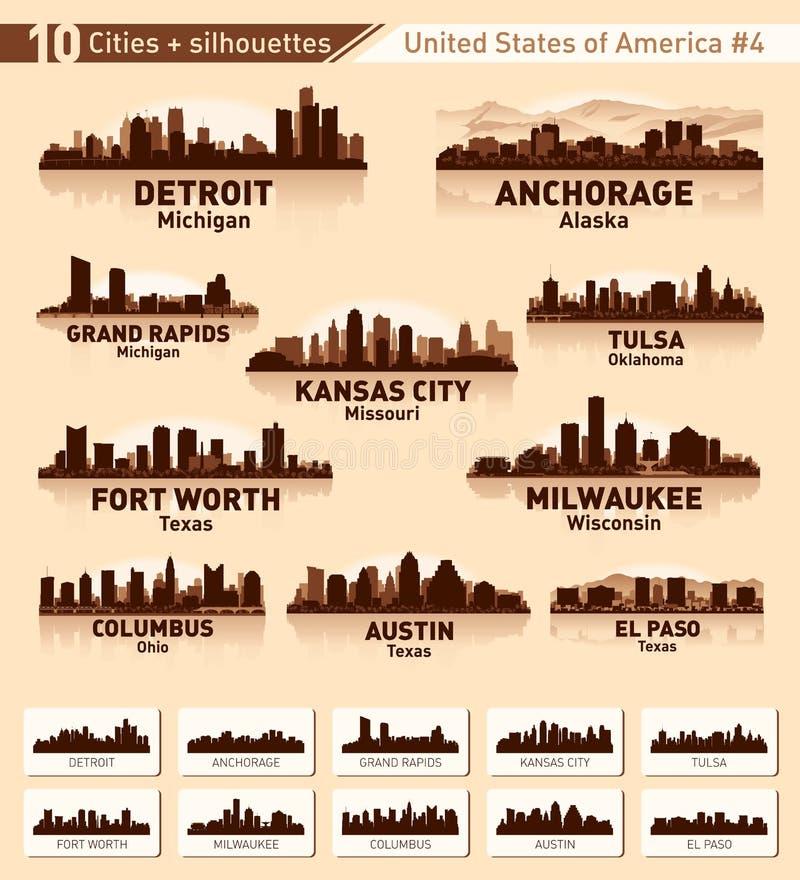 地平线城市集。 美国#4 10个城市 皇族释放例证