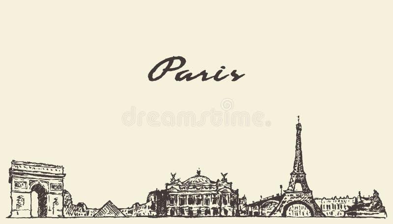 Download 巴黎地平线手拉法国的例证 向量例证. 插画 包括有 都市风景, 欧洲, 摩天大楼, 城市, 葡萄酒, 拱道 - 72355219