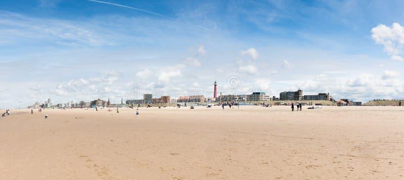 地平线斯海弗宁恩海滩在海牙,荷兰 库存照片