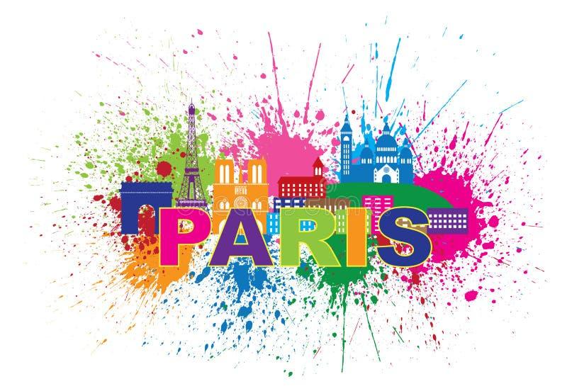 巴黎地平线油漆泼溅物文本颜色传染媒介例证 向量例证