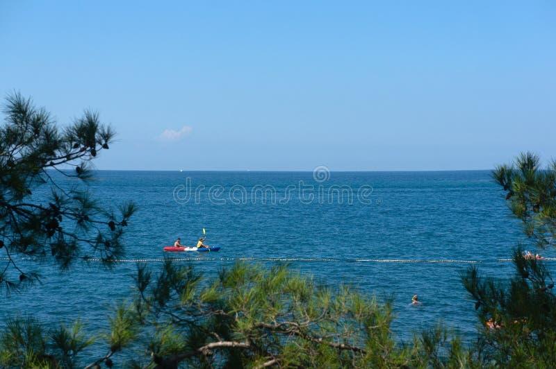 地平线的惊人视图从公海岸的 克罗地亚eco旅游业 免版税库存照片