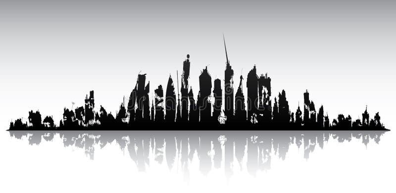 地平线被破坏的城市 向量例证