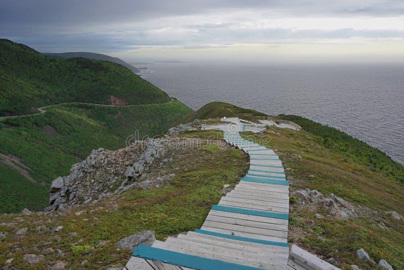 地平线足迹在布雷顿角高地国家公园在新斯科舍 库存图片