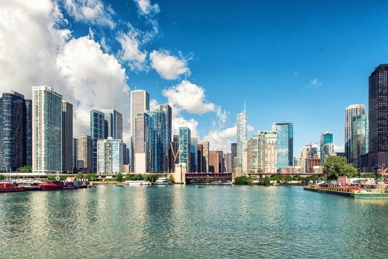 地平线都市风景芝加哥伊利诺伊,美国 免版税图库摄影