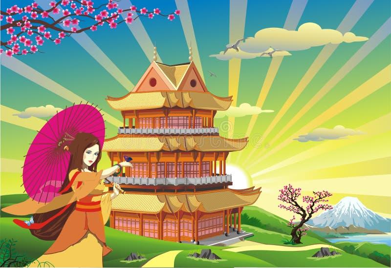 地平线-全景 在日本的日出 免版税图库摄影