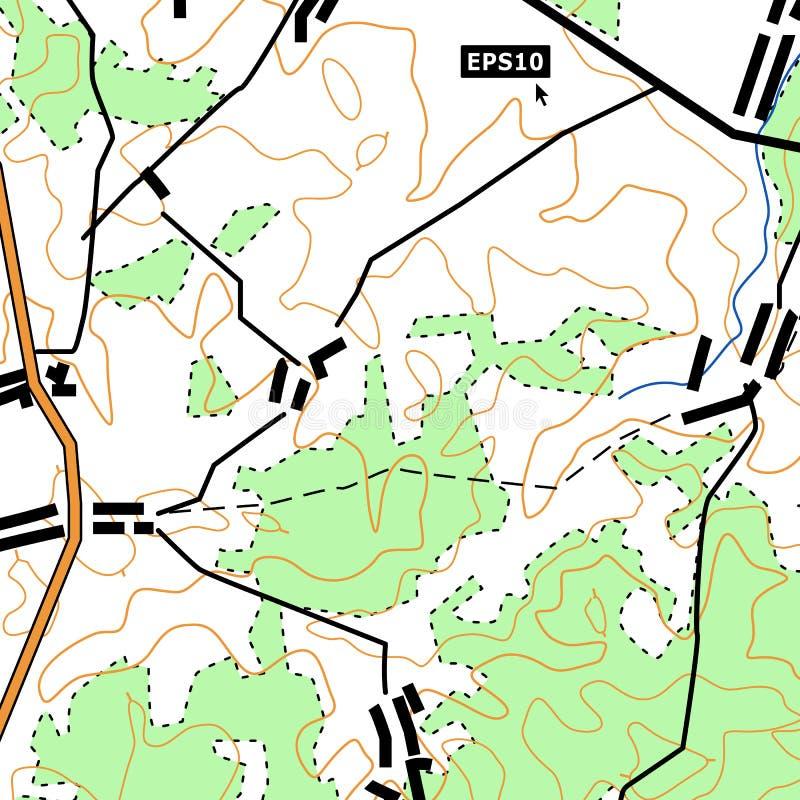 地形图与路,森林,解决,安心等高的背景概念 能为墙纸,网使用 皇族释放例证