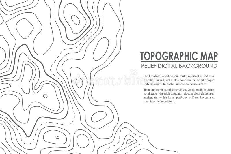 地形图等高背景 与海拔的线地图 地理世界地势地图栅格摘要例证 向量例证