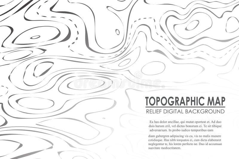 地形图等高背景 与海拔的线地图 地理世界地势地图栅格摘要 向量例证