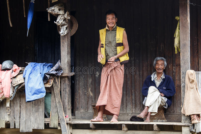 地方人在钦邦,缅甸 图库摄影
