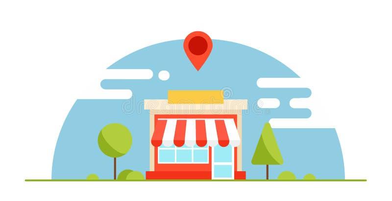 地方企业优化横幅 商店是有益的 与树和山的水平的背景 皇族释放例证