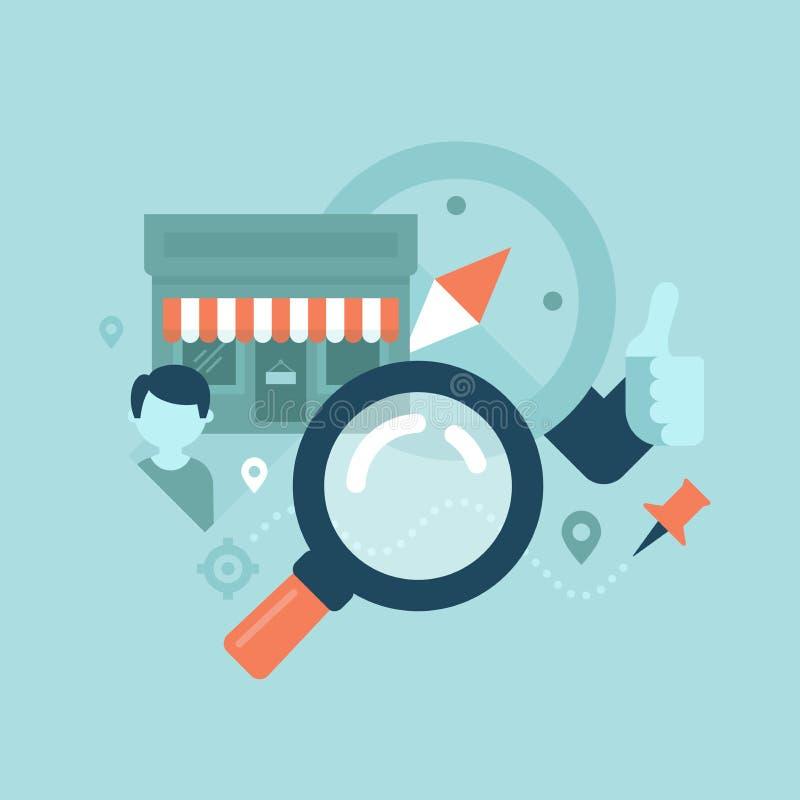 地方企业SEO概念 向量例证