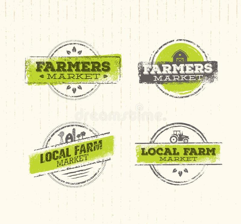地方农厂商标,地方农厂食物概念,地方农厂创造性的传染媒介,地方农厂设计元素 地方农厂邮票集合 向量例证
