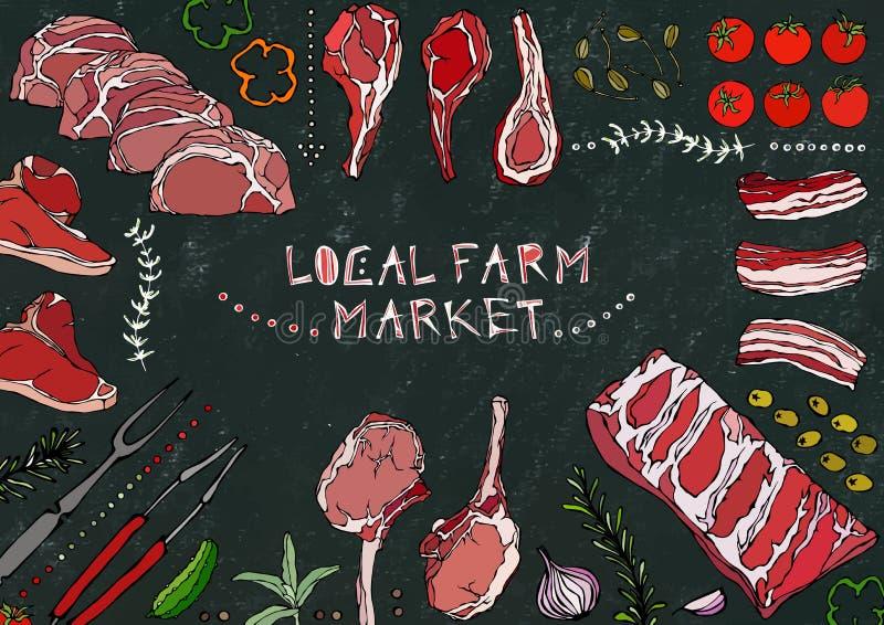 地方农厂市场 肉裁减-牛肉、猪肉、羊羔、牛排、无骨的臀部、牛里脊肉、腰部和肋骨剁 蕃茄,橄榄,甜椒 库存例证