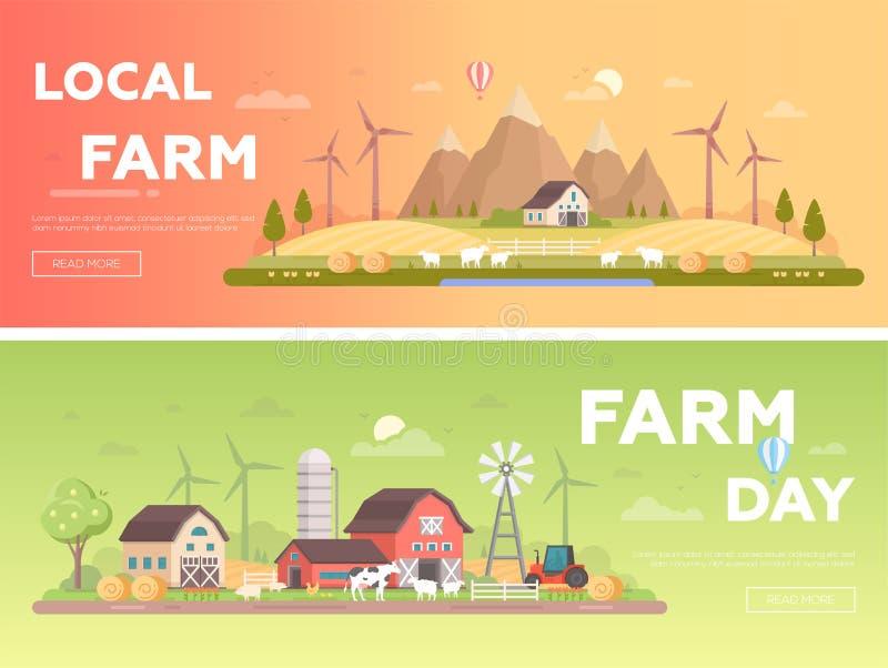 地方农场-套现代平的设计样式传染媒介例证 向量例证