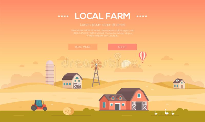 地方农场-现代平的设计样式传染媒介例证 向量例证