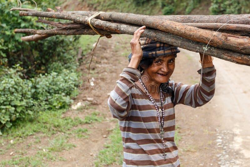 地方在头在钦邦,缅甸的妇女运载的物品 免版税库存照片