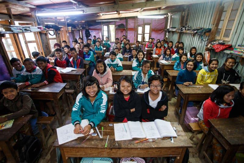 地方学校在钦邦,缅甸 免版税库存照片