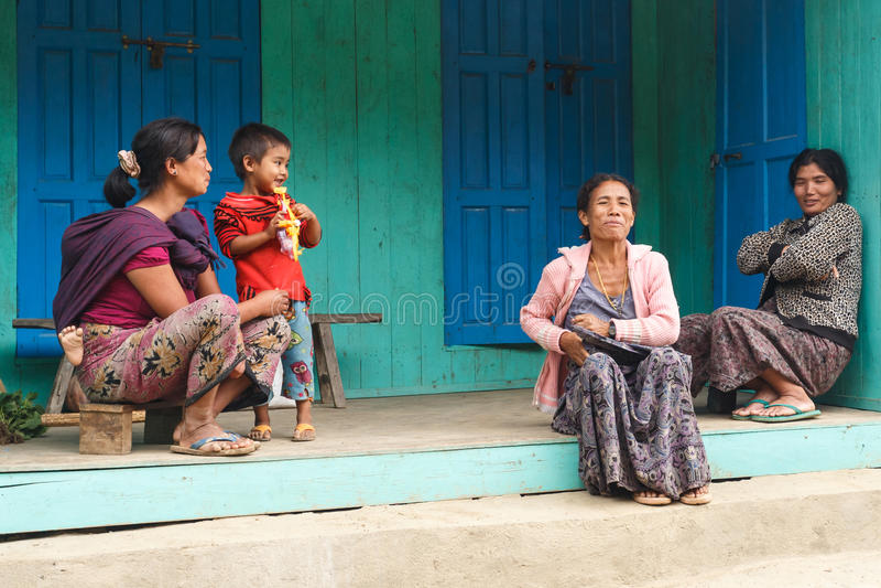 地方家庭在钦邦,缅甸 库存照片