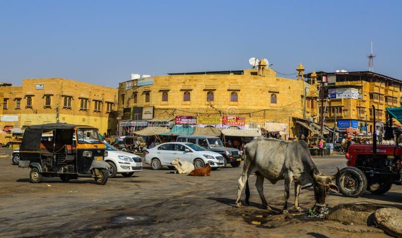 地方市场在贾沙梅尔,印度 图库摄影