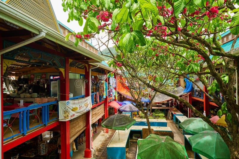 地方市场`塞尔温克拉克先生`在维多利亚, Mahé海岛,塞舌尔群岛 免版税库存图片