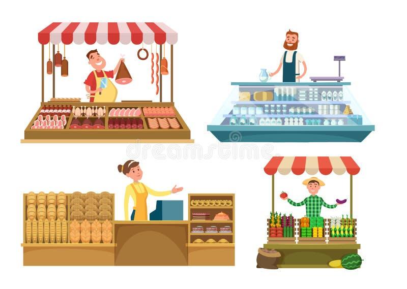 地方市场 新鲜的农厂食物、肉、面包店和牛奶 被隔绝的购物地方白色背景的 向量例证