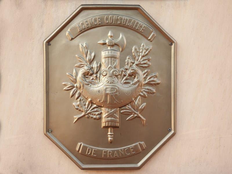 地方法国人Consulate Consulat de la与封印和徽章的Republique Francaise的正式匾法国的 免版税图库摄影